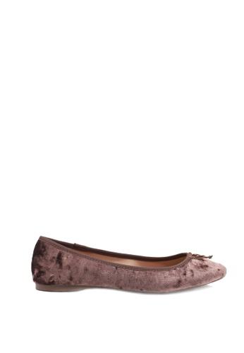 London Rag 褐色 紫色天鹅绒芭蕾舞鞋 DD3E7SHD1247D0GS_1