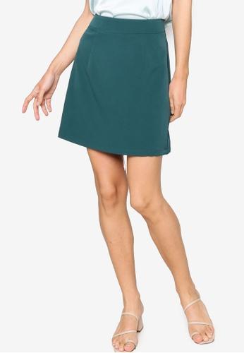 ZALORA WORK green A-line Mini Skirt 78815AA4D39D08GS_1