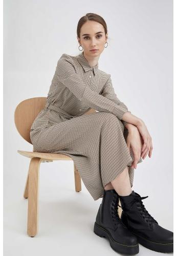 DeFacto brown Long Sleeve Maxi Dress EF9C1AA14D847BGS_1