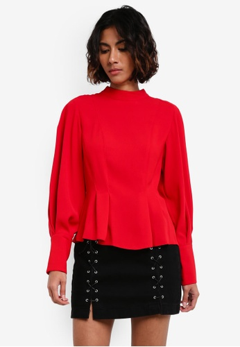 TOPSHOP red Long Sleeve Tuck Waist Top TO412AA0RY32MY_1