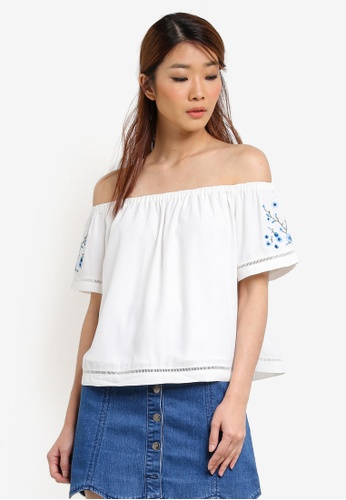 Something Borrowed white Embroidered Off Shoulder Top C96D9AA5374C64GS_1