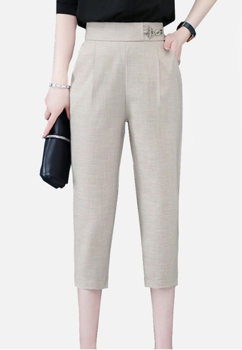 Twenty Eight Shoes beige VANSA Cotton Linen High Waist Causal Pants  VCW-P2188 3E848AA8585F31GS_1