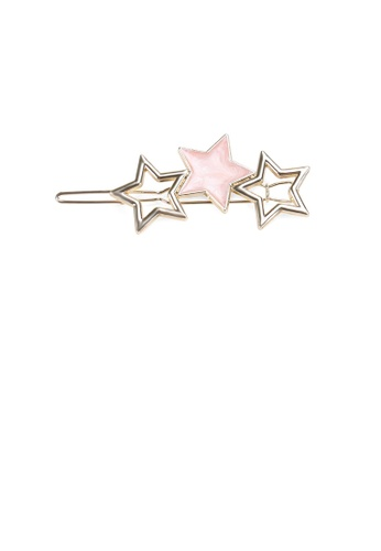 Glamorousky silver Simple Temperament Plated Gold Pink Star Hair Clip 4B90EACDE54FD6GS_1