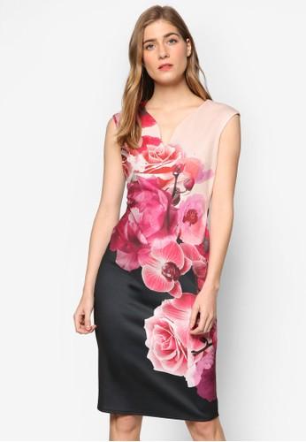 花卉對比色無袖連身裙esprit tw, 服飾, 洋裝