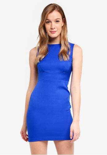 ZALORA BASICS blue Basic Slim Sheath Dress 9708DAAFC1F673GS_1