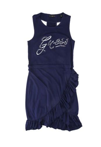 Guess blue Stretch Viscose Sleeveless Dress B2469KA1A6225BGS_1