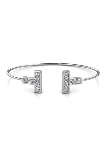 Her Jewellery silver Swarovski® Crystals -Hermies Bangle (White Gold) (18K White Gold Plated) Her Jewellery HE581AC0RDQ9MY_1