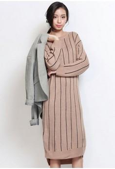 Minimalist Hip Striped Knit Dress