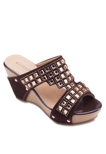 鏤空鉚釘楔形鞋, esprit china女鞋, 楔形涼鞋