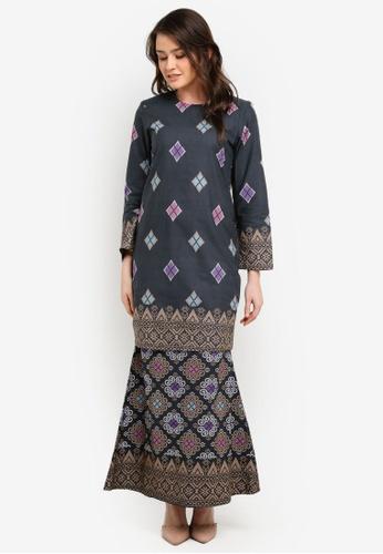 Butik Sireh Pinang grey Kirana Cotton Modern Kurung with Songket Print BU003AA0S26VMY_1