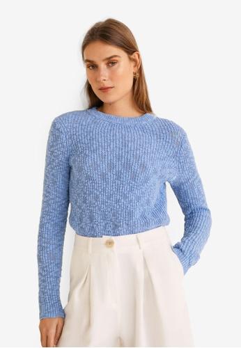 Mango blue Open-Knit Sweater D5586AA922AF96GS_1