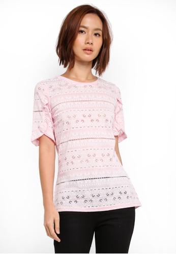Dorothy Perkins pink Nude Puff Print Tee 46FAEAAA51CE13GS_1