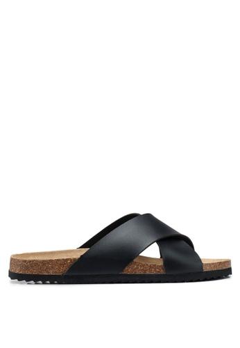 Brave Soul black Dawson Cork Sandals with Cross Straps 0CE7CSH7FF32D5GS_1