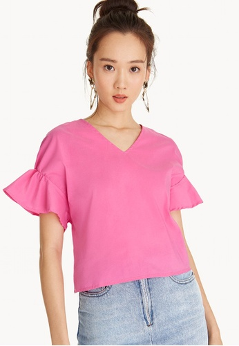 Pomelo pink Frill Sleeves Crop Top - Pink 3E24CAAD0E9A9EGS_1