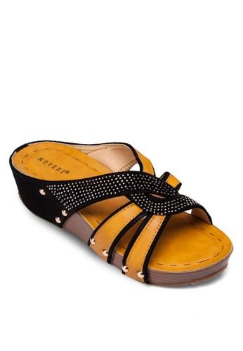 閃飾撞色楔形涼鞋zalora 泳衣, 女鞋, 楔形涼鞋