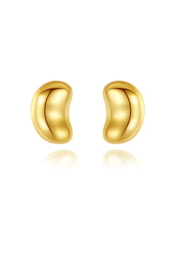SUNRAIS gold High quality Silver S925 gold simple design earrings AF3C9AC07DCB1DGS_1