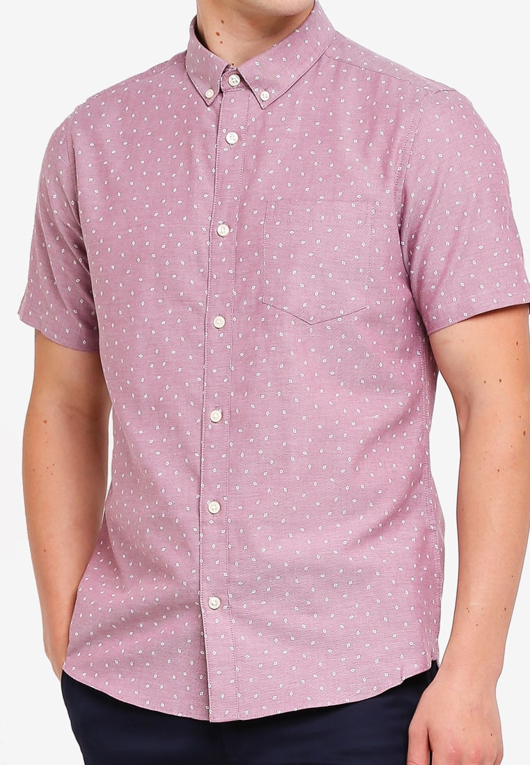 Mini Pink Oxford Menswear Print Short Shirt Pink Burton London Geometric Sleeve EUw6nOqv