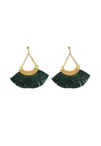 La Miina green and gold Ursula Green drop tassel earrings C2948AC26159D7GS_1