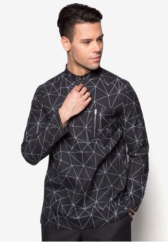 幾何印花拉鍊口袋esprit分店長袖上衣, 服飾, 男性服飾