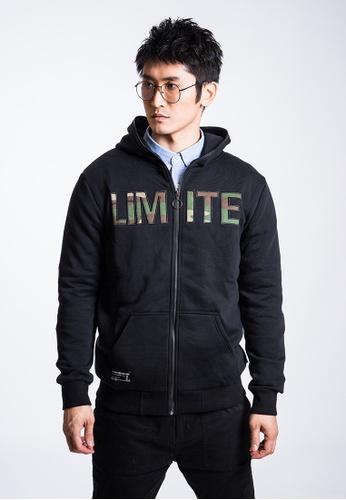 L.I.M.I.T.E black Emb. Zip-up Hoodies LI425AA0G9TJSG_1