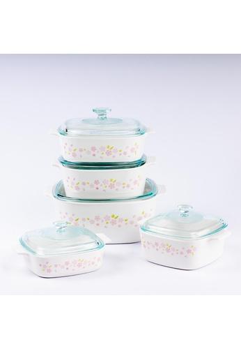 Corningware white Corningware 10 Pcs Casserole Set With Glass Cover - Sakura 5D47FHL8A87C88GS_1