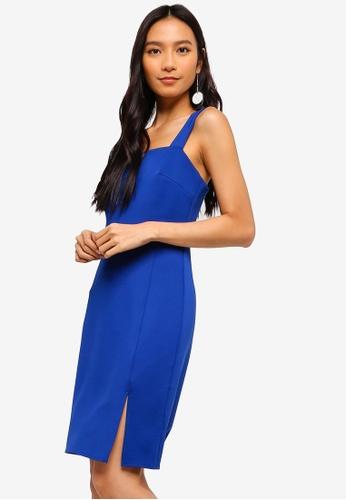 ZALORA 藍色 Straight Neck Sheath Dress With Slit 4860DAA8E41192GS_1