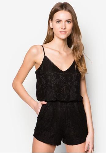 蕾絲細肩帶連身褲, zalora taiwan 時尚購物網服飾, 連身褲
