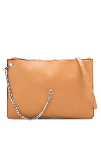 Something Borrowed brown Side Chain Mini Double Pouch Bag D6E70ZZ2187386GS_1
