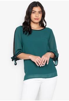 718d2a1576a6dd CIGNAL green Split Sleeve Blouse w  Cuff Tie 3CAC9AA7E6FEBBGS 1