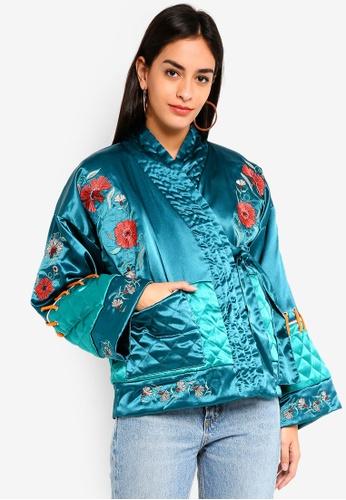 Glamorous blue Teal Satin Embroidered Kimono Jacket B283AAAB83DF8EGS_1