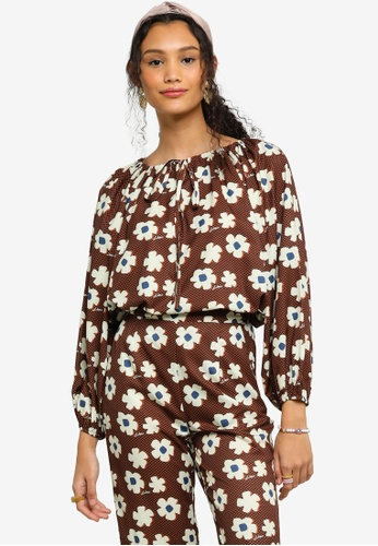 Lubna brown Printed Peasant Blouse 1CB3EAA47F6AEDGS_1