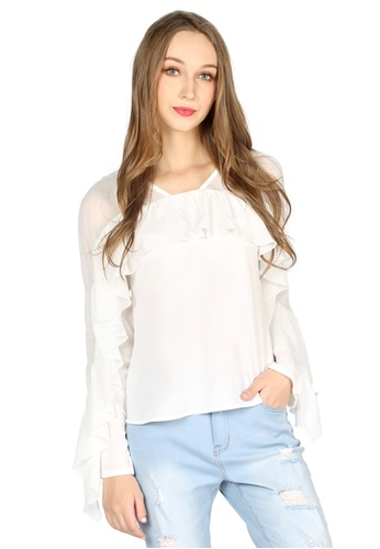 London Rag white White Full Sleeve Casual Top 90C31AA0851663GS_1