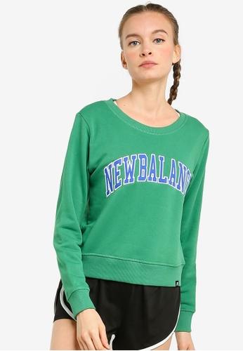 New Balance green NB Athletics Varsity Crew Sweatshirt 6443BAA961A49AGS_1