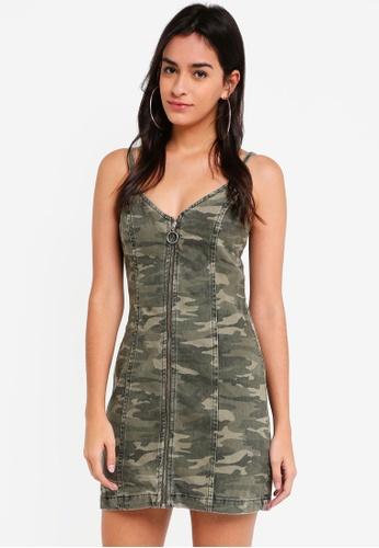 TOPSHOP green and multi Camo Zip Up Denim Dress 51916AAC23BC19GS_1