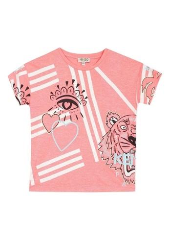 KENZO KIDS white and pink and multi KENZO GIRLS T-SHIRT 8DED5KA2AB51B6GS_1