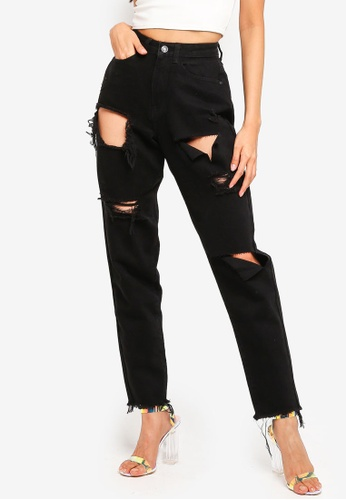 MISSGUIDED black Riot High Rise Ripped Denim Mom Jeans 3A71CAAF5CFAFCGS_1