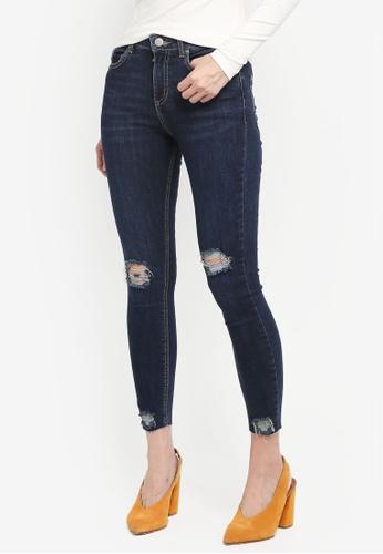 Miss Selfridge blue Petite Busted Hem Lizzi Jeans D4CE7AAFC09061GS_1
