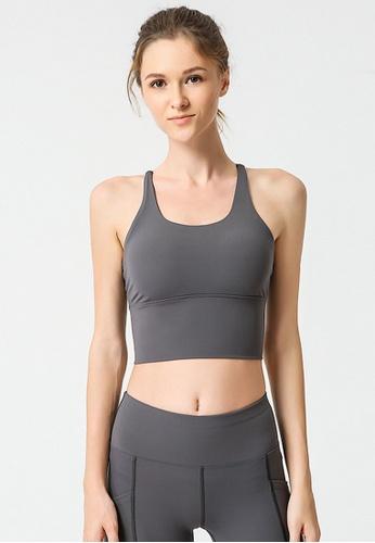 B-Code grey ZYG3037-Lady Quick Drying Running Fitness Yoga Sports Bra -Grey 2E48DUS1C2A9D4GS_1
