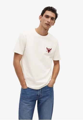 MANGO Man white Animal Print Organic Cotton T-Shirt DD447AA696F543GS_1