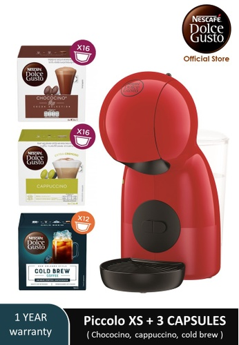 NESCAFE Dolce Gusto red PICCOLO XS Coffee Machine with 3 boxes of NESCAFE Dolce Gusto capsules D63BAES261B586GS_1
