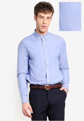 Burton Menswear London blue Light Blue Long Sleeve Oxford Shirt BU964AA84XVBMY_1
