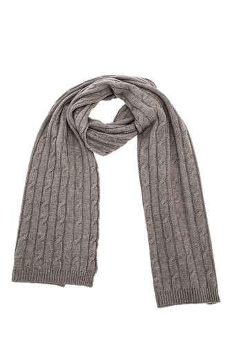 坑條紐繩保暖圍巾 - 深卡其, 飾品配件,esprit官網 披肩