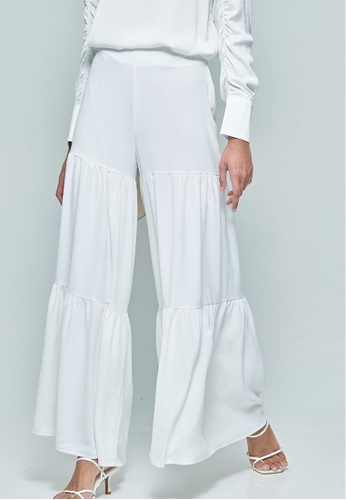 MC Vogue white White Wide Tiered Pants 41F85AA709DCFCGS_1