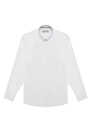 Gieves & Hawkes white COTTON BUTTON-DOWN CASUAL SHIRT C2921AA013AFE6GS_1
