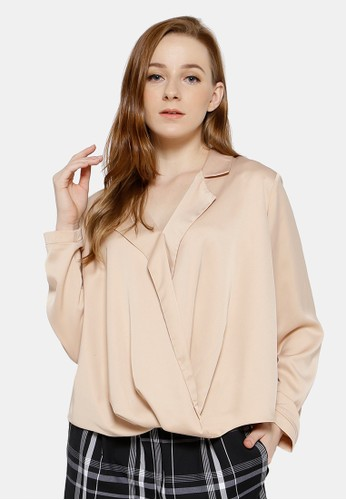 REE Party Draped Blouse Cream DDC7AAA239BF11GS_1