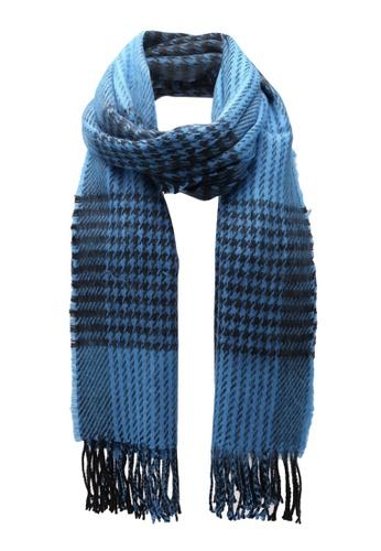 Miss Selfridge blue Blue Dogstooth Scarf MI665AC0S7C9MY_1