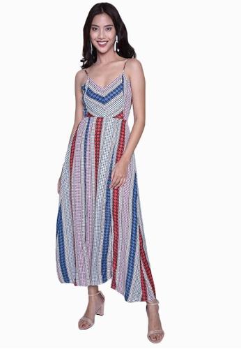 Caoros blue Geometric Maxi Dress CAFF6AA6C6A7A3GS_1