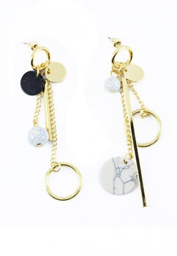LOOP AND HOOP gold Alice drop gold charm marble stud earring E4868ACB41DCFCGS_1