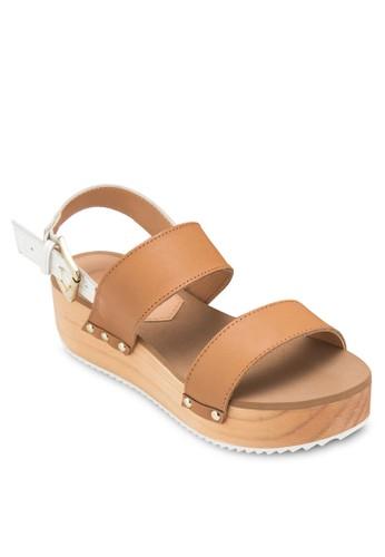 Selgas 雙寬帶厚底楔型涼鞋,esprit 評價 女鞋, 鞋