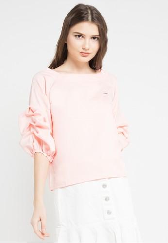 Lavabra pink Frilled Sleeve Blouse LA387AA0WCCXID_1